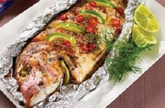 Baked whole catfish