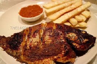 Fried yam with grilled fish and pepper sauce