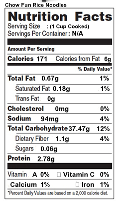 Rice noodles, cooked Nutrition Facts & Calories